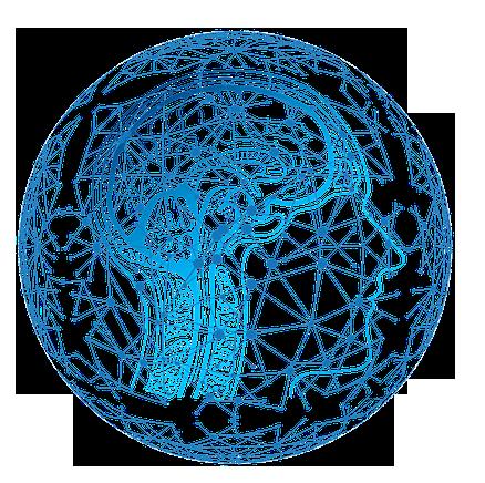illustration tête dans des teintes de bleu
